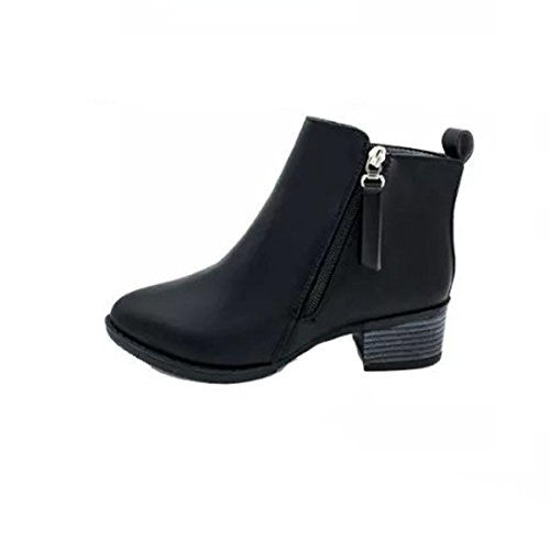 Graue Ankle-boots (Stiefel Damen Schuhe Sonnena Ankle Boots Martin Stiefel Vintage Plateau Stiefeletten Seite Zipper Schuhe Kunstleder Kurzschaft Stiefel Warm Gefütterte Blockabsatz Boots (37, Sexy Schwarz))