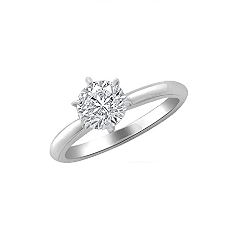 Libertini Women's 92 KT White Silver Round Shaped 0.8 Ct Round Cut Diamond Ring, (G-H Color, SI Clarity)