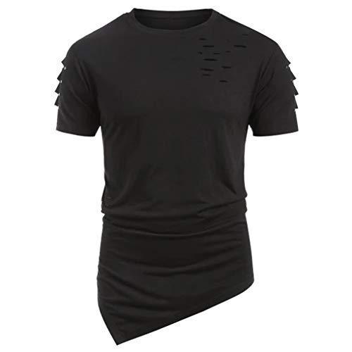 LSAltd Männer Sommer lässige Punk-Stil aushöhlen gestreiften zerstören Design unregelmäßigen Saum einfarbig T-Shirt Bluse Tops