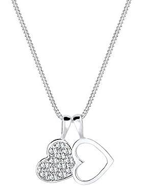 Elli Damen-Kette mit Anhänger Herz rosévergoldet 925 Silber Swarovski Kristall