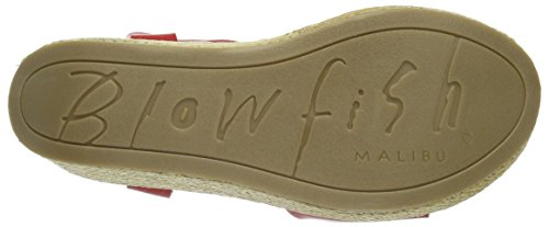 Blowfish Driveln, Sandales ouvertes à talon compensé femme Rouge - Rot (bright red/natural)