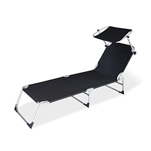 wolketon Gartenliege liegestuhl strandliege sonnenliege klappbar Freizeitliege Rückenlehne und Sonnendach verstellbar Freizeitliege