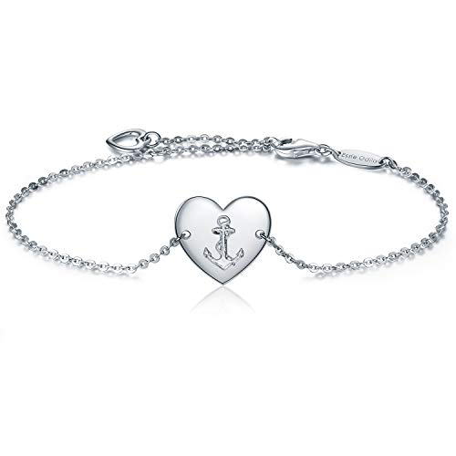 3397db4fd 925 Sterling Silver Anchor Heart Adjustable Bracelet for Womens Sisters  Friends Mother