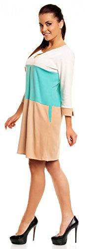Zeta Ville - Robe droite à rayures horizontales avec poches - Femme - 303z Menthe & Beige