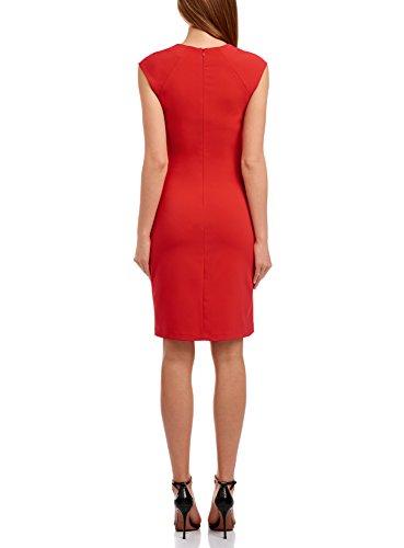 oodji Collection Femme Robe Fourreau avec Encolure Décorée Rouge (4500N)
