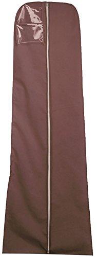 Vinsani Kleidersack zur Aufbewahrung des Hochzeitskleids, ca. 182cm, atmungsaktiv, wasserdicht, zum Aufhängen, erhältlich in verschiedenen Farben. braun (Zwickel Kleidersack)
