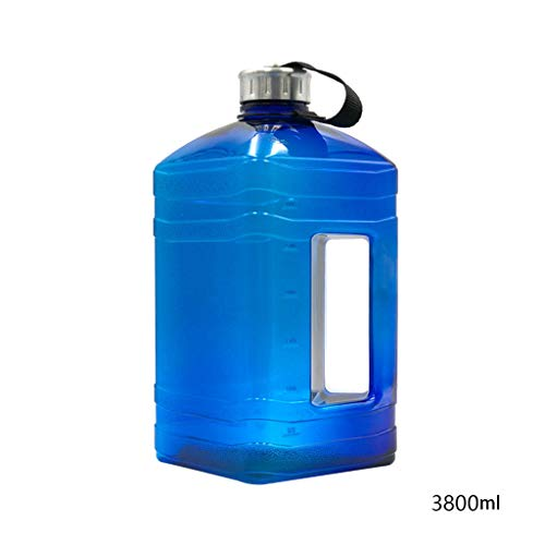 guanjunLI Wasserflasche 3,8 l Ultra großer Wasserkocher Eimer Nylon-Griff Anti-Auslaufen Gym Tragbar Workout Hantel Trinkbecher mit Skala Outdoor Sport Flasche, Navy -