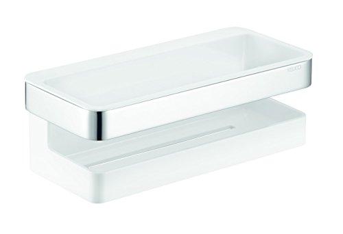 Keuco 12758010001 Panier de douche, 3 pièces en plastique avec raclette en verre Chrome Chrom/ Anthrazit