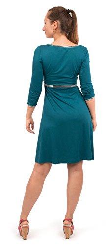 Viva la Mama blaues Kleid für Schwangere Stillkleid Damen Umstandsmode Kleid festlich Mamamode – Wanda Petrolblau Streifen - 3