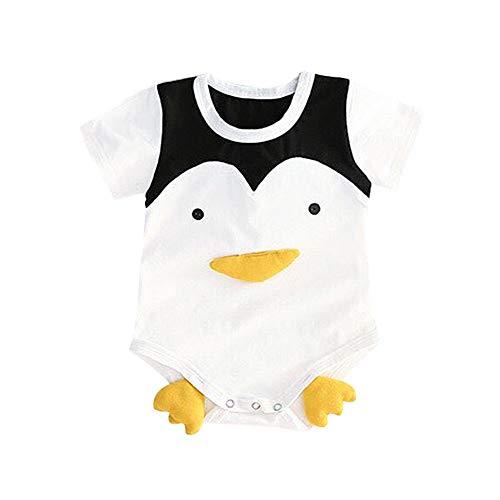 Sommer Kleinkind 3D Cartoon Tier Body Baby Kurzarm Overall weiche Baumwolle Strampler für Kinder(80-Pinguin)