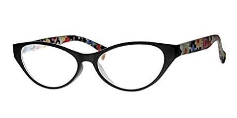 Reading Glasses +2.50, Free Slip In Case, Spring Hinged Arms, Ladies Retro Cats Eye Style, Black Frame, Flower Print Arms