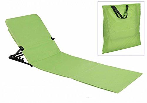 Strandliege 145x47x52 cm klappbar grün Strandmatte Sonnenliege tragbar zusammenklappbar...