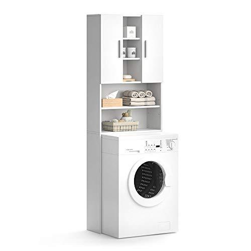 *Vicco Waschmaschinenschrank Luis Weiß 190 x 64 cm – Badregal Hochschrank Waschmaschine Bad Schrank Badezimmerschrank Überbau*