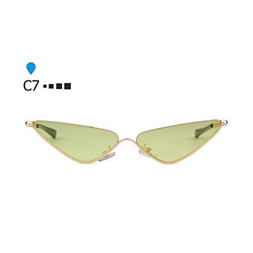 YOGER Sonnenbrillen Halbe Rahmen Triangle Cat Eye Sonnenbrillen Frauen Vintage Kleine Sonnenbrille Tiny Shades