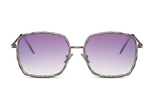 Cheapass Sonnenbrille Groß-e Rund-e Designer-Brille Silber Violett Lila XXL Blumen-Motiv Festival UV-400 Lichtschutz Metall Frau uen Damen