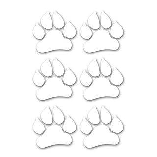 easydruck24de 6er Set Aufkleber Tier-Pfoten-Abdruck I kfz_278 weiß I 10 x 10 cm groß I Hunde-Pfoten Katzen-Pfoten Iunde für Kfz LKW Laptop I Wetterfest