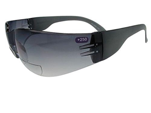Bifokale getönte Lesebrille / Sonnenbrille, stoßfest, für den Sport oder die Arbeit UV-geschützte Linsen, Farbverlauf, Grau