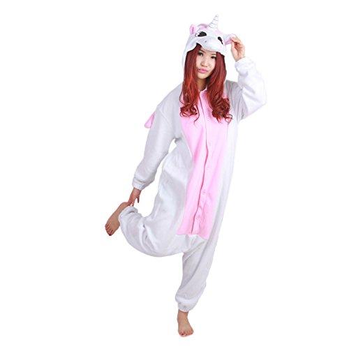 Kigurumi Pajamas Engerla Halloween Animal Cosplay One Piece, pigiama abbigliamento Felpa con cappuccio Rosa unicorno