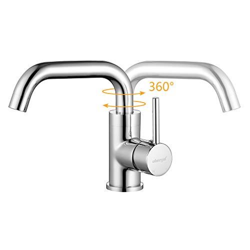 ubeegol 360° Drehbar Wasserhahn Bad Waschtischarmatur Waschbecken Armatur Chrom Einhebelmischer Mischbatterie Badezimmer Küche Spülbecken Küchenarmatur - 3