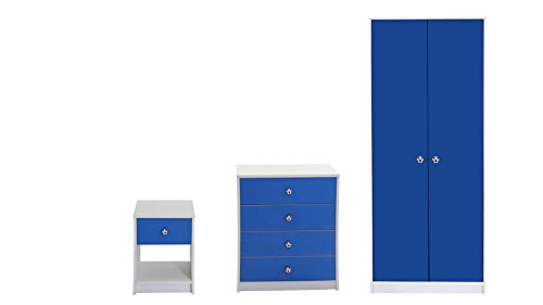 Devoted2Home Rovers Childrens Bedroom Furniture 3 Piece Set-White & Blue-Includes Wardrobe, Chest of Drawers and Bedside Cabinet, Wood, 49.8x66.8x139 cm