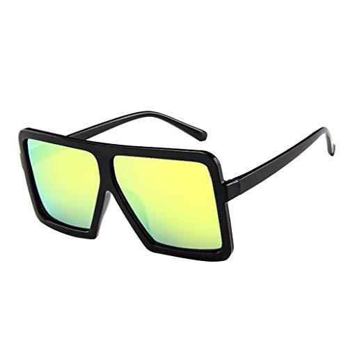 Lazzboy Frauen Männer Vintage Retro Brille Unisex Big Frame Sonnenbrille Eyewear Design Herren Und Damen Mode übergroße Cat Eye(Gelb)