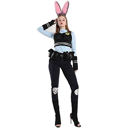 CAGYMJ Halloween Kostüm Damen Kleid,Cosplay Anime Verrückte Stadt Kaninchen Tier Uniform Polizei Hosen Anzug,Oktoberfest Ostern Kleidung Karneval - Tier Kostüm Party Stadt