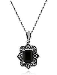Esse Marcasite Sterling Silver Square Cushion Cut Black Spinel and Marcasite Pendant of 45.5cm Chain 5cm Extender
