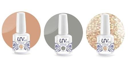 UV-Nails Soak-Off Gel Set Wedding Bells (223,207,208) 2 Polishes & 1 Glitter 0.5 OZ + Aviva Nail