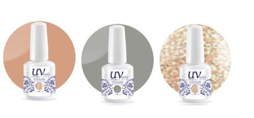 UV-Nails Soak-Off Gel Set Wedding Bells (223,207,208) 2 Vernis a Ongles & 1 Vernis Paillettes 15ml + Aviva Polissoir a ongles