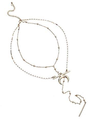 Simplee Apparel les femmes de lune d'or longue chaîne collier pendentif en forme de double couche de bijoux en or