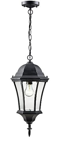 Z-Lite 522CHM-BK Wakefield Outdoor Chain Light, Aluminum Frame, Black Finish and Clear Beveled Shade of Glass Material by Z-Lite