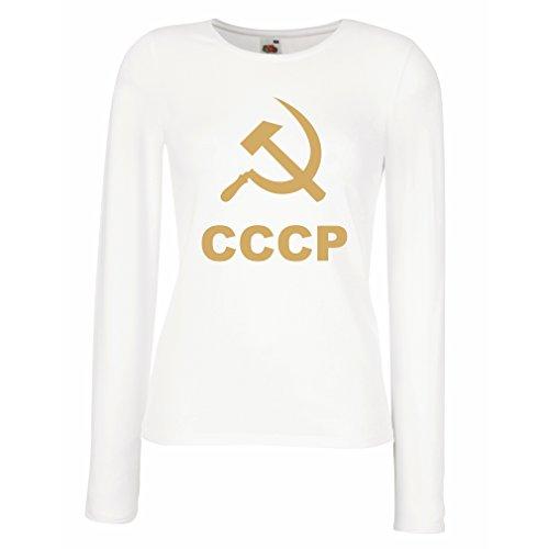 Weibliche langen Ärmeln T-Shirt Sichel und Hammer - UdSSR - СССР Moskau - politisches Design (Small Weiß Gold)