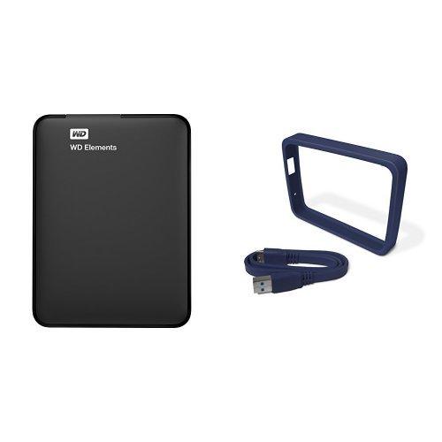 WD Elements - Disco duro externo portátil de 1 TB con USB 3.0, color negro + WD Grip Pack - Funda de disco duro para My Passport Ultra (incluye cable USB 3.0), pizarra