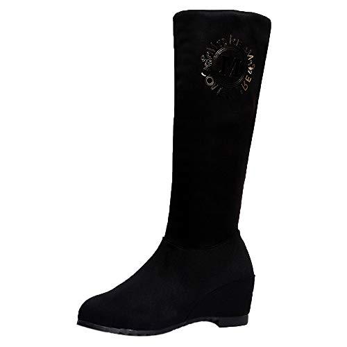 Felicove Damen Langschaft Stiefel, Keil High Heel Winter Stiefel In The Tube Stiefel Lange Stiefel Kniehohe Schuhe Flache Boots Plüsch Overknee Stiefel Absatz Baumwolle Winterstiefel
