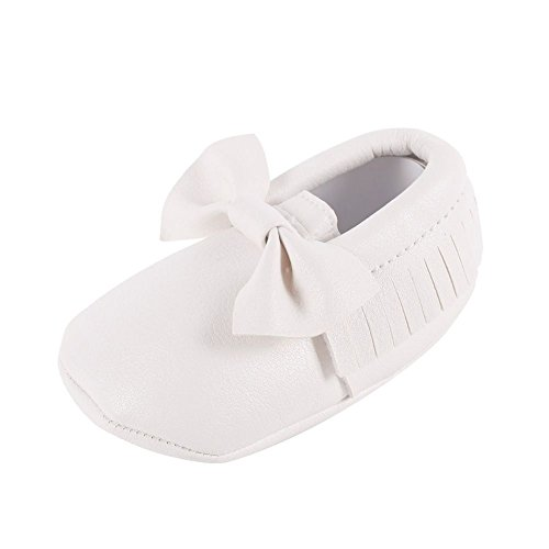 Moresave Pantofole di cuoio della nappa della neonata della Bowknot della peluche Molletta morbida antiscivolo H