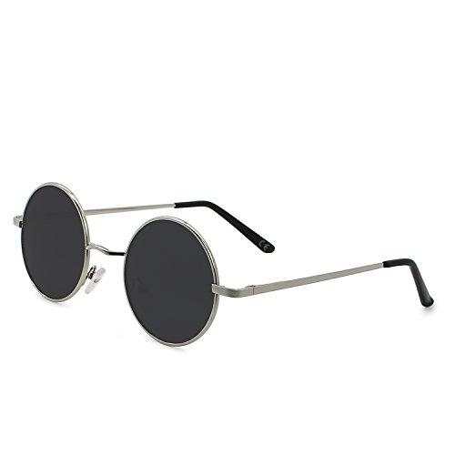 AMZTM Runde Sonnenbrille Retro Klassisch Vintage Mode Metallrahmen Klein Kreis Polarisierte Damen Herren Verspiegelt Fahren Brillen UV 400 Schutz (Silber Rahmen Grau Linse, 46)