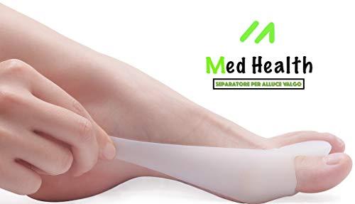 Separatore alluce valgo in silicone med health - correttore alluce valgo in morbido silicone medico ipoallergenico - protezione piede giorno e notte