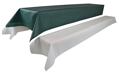 Bierzeltgarnitur 1 Tischdecke (Farbe & Breite nach Wahl) (1,2 x 2,5m, grün) und zwei weiße...