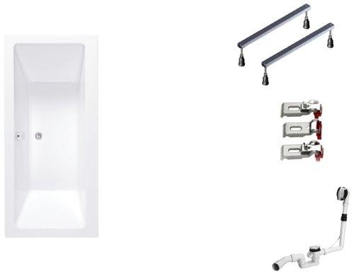 BWSET142RF Badewannen komplett Set inklusiv Acryl Rechteck, Fußgestell und Über- Ablaufgarnitur, 170 x 75 cm