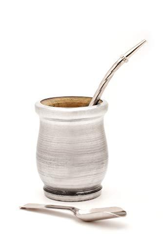 BALIBETOV Mate Argentino Set Legno Yerba Mate - Palo Santo Tradizionale Avvolto in Alluminio (Tazza Mate) con Bombilla (Paglia Yerba Mate) (Alluminio)