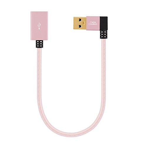 Cablecreation [2-pack] court USB3.0Câble d'extension, câble d'extension USB 3.0mâle vers femelle à angle gauche à 90degrés câble d'extension USB 3.0, USB AM vers AF pour Oculus VR, PlayStation, Xbox, clavier, imprimante, scanner