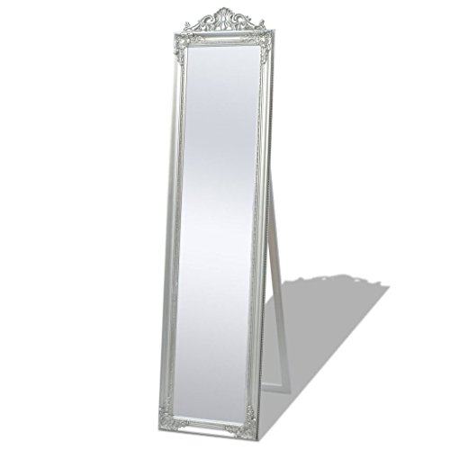 vidaXL Miroir sur Pied Chambre Salle de Bain Style Baroque 160 x 40 cm Argenté