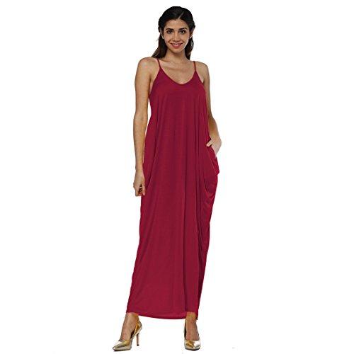 Graduation Kleid Rot (Luckywe Karin Maxi-Kleid unregelmäßige Sling tiefe V Tasche Chiffon Langes Party Ballkleid Abendkleid 24 DarkMagenta 38(EU))