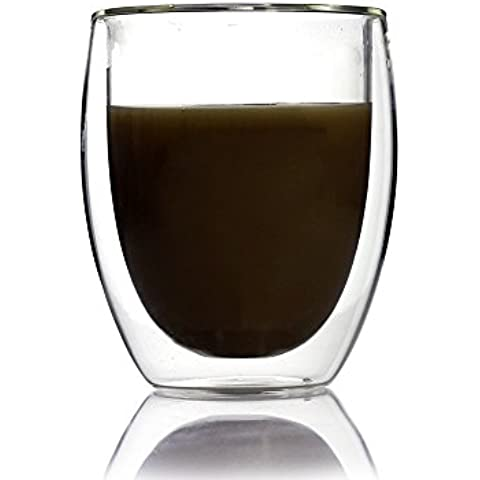 Unihom–Azzinoth 2x 260ml 9oz de cristal de doble pared vaso de café, vidrio, transparente, 2
