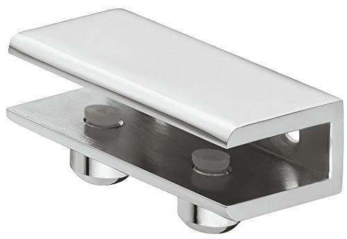Gedotec Glasbodenträger Chrom poliert Regalbodenträger Glas und Holz - Cube | Tablarträger für Tablardicke 8-10 mm | Wand-Halterung mit Tragkraft 24 kg | 1 Stück - Design Regalträger aus Metall -