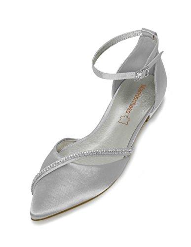 MarHermoso Damen Elegante Ballerinas Satin Ankle Strap Silber Abendschuhe Brautschuhe