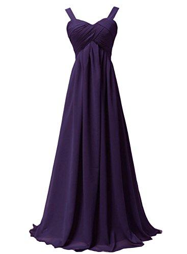 AZBRO Damen Elegantes Einfarbiges Netz Prom-Kleid Deep Purple