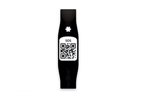 Silincode SOSBKS - Pulsera SOS con código QR, tamaño S, negro