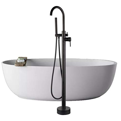 CCWDRZ DuschsetBodenmontage Badewanne Füller Dusche Römische Badewanne Wasserhahn Set Freistehende Schwarze Badewanne Runden Auslauf Badewanne Mischbatterie