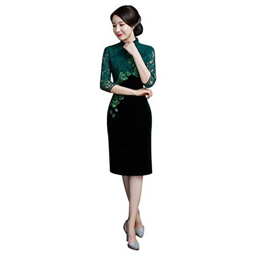 Xinvision Damen Chinesischer Vintage Qipao - Blumenstickerei Kleid Spitze Halbe Ärmel Schlank Frauen ()